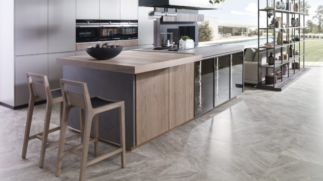 Marble-finished ceramic for kitchens